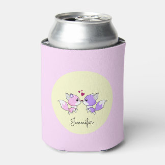 Cute kawaii foxes cartoon in pink and purple can cooler