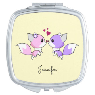 Cute kawaii foxes cartoon in pink and purple name mirror for makeup