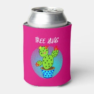 Cute Kawaii Free Hugs Smiling Cactus Plant Graphic Can Cooler