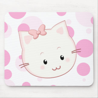 Cute Kawaii Kitty Cat with Bow in Pink Mouse Pad