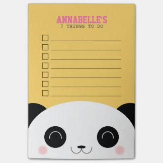 Cute Kawaii Panda Face Kids To Do List Post-it Notes