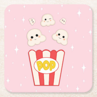 Cute Kawaii Popcorn Square Paper Coaster