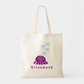 Cute Kawaii Purple Jellyfish with Blue Bubbles Tote Bag