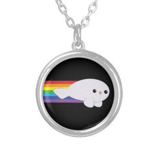 Cute Kawaii Rainbow Rocket Baby Seal iPhone 4 Case Silver Plated Necklace