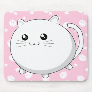 Cute Kawaii white kitty cat Mousepads