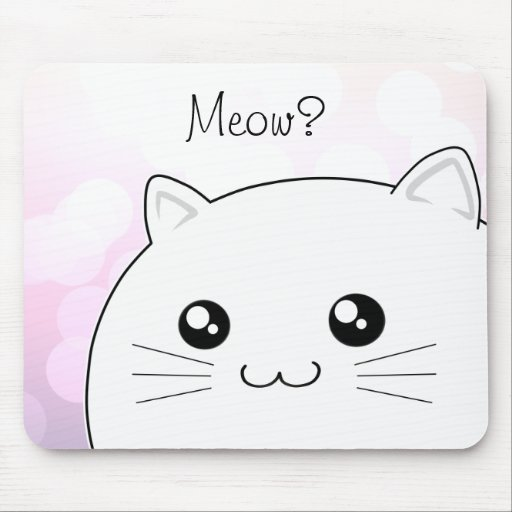 Cute kawaii white kitty cat mouse pad