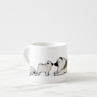 Cute Keeshond Family with Blue Sock Espresso Cup