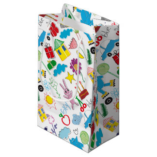 Cute Kids Doodles Pattern Party Supplies Small Gift Bag