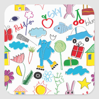 Cute Kids Doodles Pattern Party Supplies Square Sticker