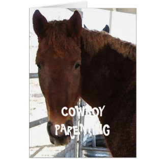 Cute Kids Love a Rocking Horse - Cowboy Parenting Greeting Card