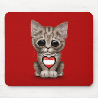 Cute Kitten Cat with Austrian Flag Heart, red Mouse Pad