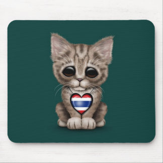 Cute Kitten Cat with Thai Flag Heart, teal Mouse Pad