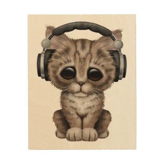 Cute Kitten Dj Wearing Headphones Wood Wall Art