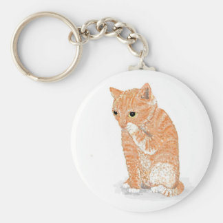 Cute Kitten  Products Basic Round Button Key Ring