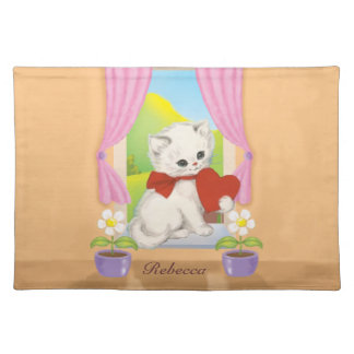 Cute Kitten with Love Heart Placemat