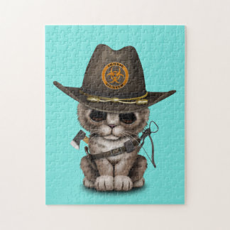 Cute Kitten Zombie Hunter Jigsaw Puzzle