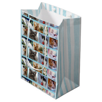 Cute Kittens Collage Christmas Pale Blue Gift Bag