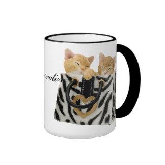 Cute Kittens in Zebra Print Handbag Mug