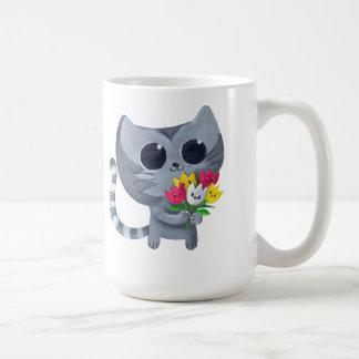 Cute Kitty Cat and flowers Classic White Coffee Mug