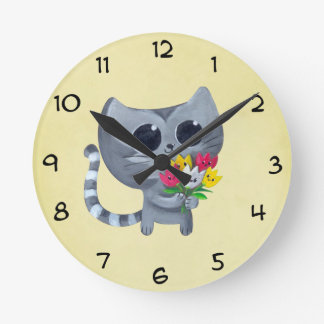 Cute Kitty Cat and flowers Round Clock