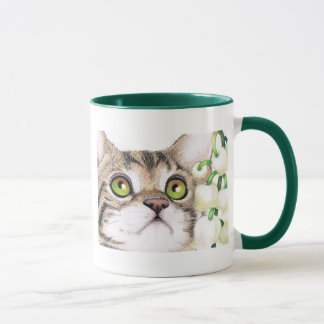 cute Kitty Cat and Lily of the Valley Flower Mug