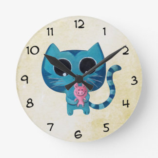 Cute Kitty Cat and Pig Round Clock