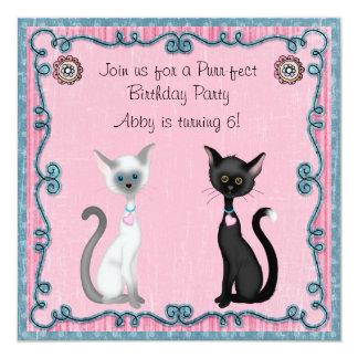 Cute Kitty Cat Birthday Invitation ~ Girls