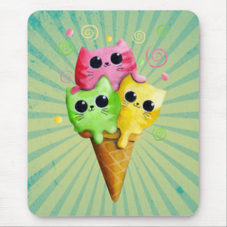 Cute Kitty Cat Ice Cream Mouse Pad