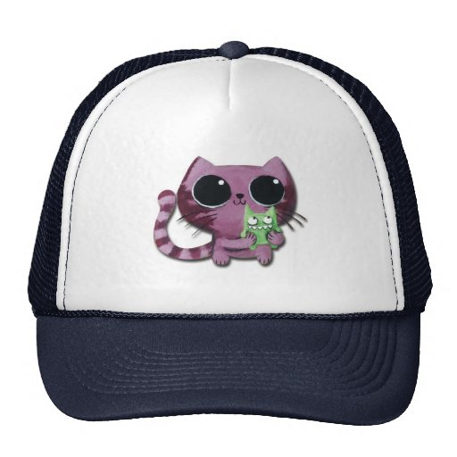 Cute Kitty Cat with Little Green Monster Mesh Hat