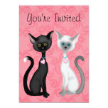 Cute Kity Cats Pink, Black, White Birthday Invite
