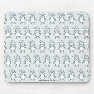 """Cute """"Knit-Rit"""" cat pale blue mousepad"""