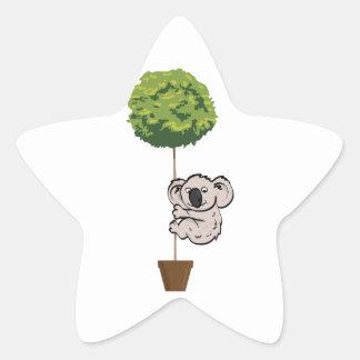 Cute Koala on the Tree Star Sticker