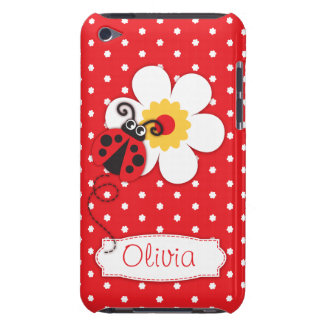 Cute ladybug girls name red ipod touch case