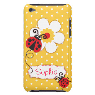 Cute ladybug girls name yellow ipod touch case
