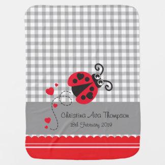Cute ladybug grey red custom name date blanket swaddle blankets