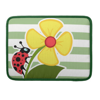 Cute Ladybug on Laurel Green Horizontal Stripes Sleeve For MacBook Pro