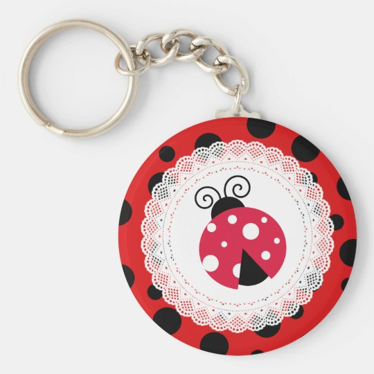 Cute Ladybug Red and Black Keychain