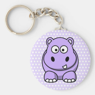 Cute Lavender Hippo Key Ring