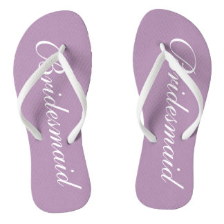 Cute lavender purple bridesmaid wedding flip flops thongs
