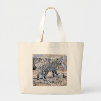 Cute Leopard Cub on the Move Large Tote Bag