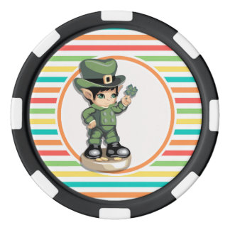 Cute Leprechaun on Bright Rainbow Stripes Poker Chips