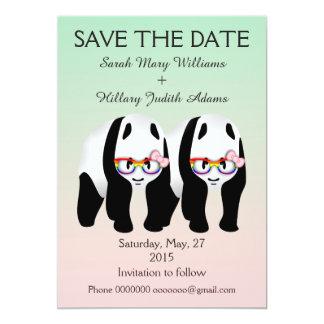 Cute Lesbian Panda Bears Wedding Save The Date Card