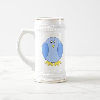Cute Light Blue Bird Cartoon. Beer Steins