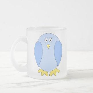 Cute Light Blue Bird Cartoon. Frosted Glass Mug