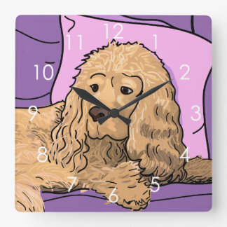 Cute Light-brown Cocker Spaniel Portrait Drawing Wall Clocks