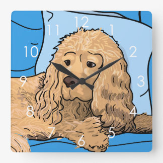 Cute Light-brown Cocker Spaniel Portrait Drawing Wallclocks