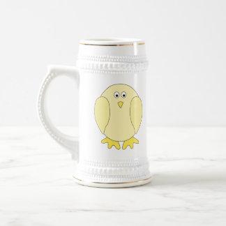 Cute Light Yellow Bird. Cartoon Chick. Beer Steins