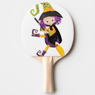 Cute Lil Witch With Purple Hair on A Broomstick Ping Pong Paddle
