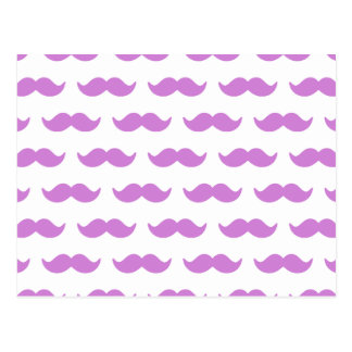 Cute Lilac and White Mustache Pattern 1 Postcard