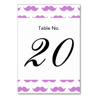 Cute Lilac and White Mustache Pattern 1 Table Card